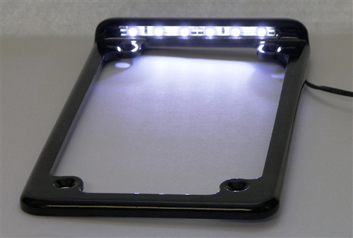 Vertical LED Lighted Motorcycle License Plate Frame with tag ...