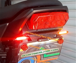 2017+ - Integrated Brake and Turn Signals Clear Lens Tucked LED Fender Eliminator Kit with LED Flasher Relay for Honda Grom MSX125