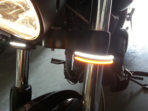 Amber LED Fork Turn Signal Kit For Honda Fury Victory Universal Motorcycle