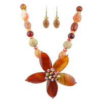Beautiful & Sparkling Iridescent Crystals & Red-Orange Stone Beads Necklace Set