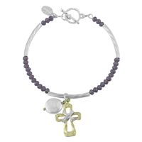 Gold Hammered Cross White Pearl Purple Crystal Beads Silver Toggle Clasp Bracelet