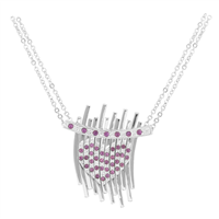 Chic & Classy Crystal Heart Jangle Silver Necklace
