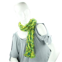 Greens & Yellow Fuzzy Acrylic 5 Way Scarf