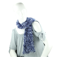 Blue & White Fuzzy Acrylic 5 Way Scarf