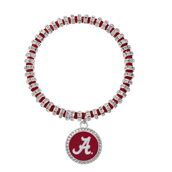 College Fashion Crystal University of Alabama Logo Charm Bicks Bracelet