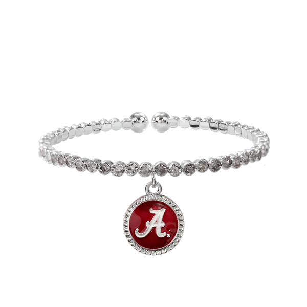 College Fashion Crystal University of Alabama Logo Charm Cuff Breeze Bangle