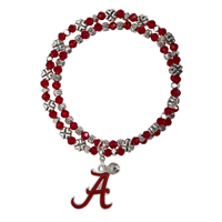 College Fashion Crystal University of Alabama Logo Charm Double Layered Stretch Bryton Bracelet