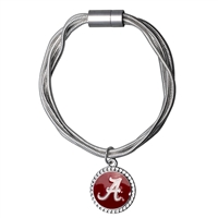 College Fashion University of Alabama Logo Charm Multi-Layered Snake Chain Pop Clasp Burma Bracelet