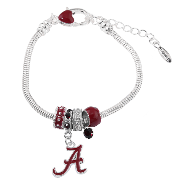 College Fashion Crystal University of Alabama Logo Charms Betsy Bracelet