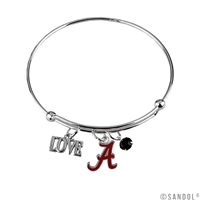 Coil Love Silver Charm Bracelet Alabama Roll Tide Bangle Silver Jewelry