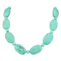Ethnic Chic Turquoise Crackled Beaded Stone Silver Necklace