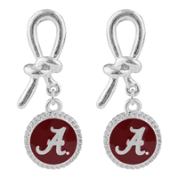Alabama White Script A Round Crimson & Silver Twist Ribbon Stud Earrings