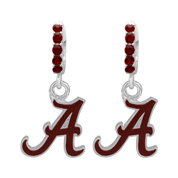 College Fashion Crystal University of Alabama Logo Charm Cuff Hoop Dangle Electra Earrings