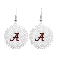 College Fashion Filigree Cut University of Alabama Logo Charm Post Dangle Els Earrings