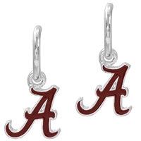 Dangle Logo Earrings Silver College University Alabama Jewelry