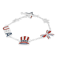 Red, White & Blue Stars & Stripes Patriotic American Charm Silver Toggle Bracelet