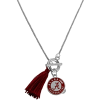 College Fashion University of Alabama Logo Medallion Charm Tassel Norma Necklace Lobster Clasp