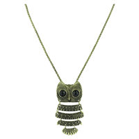 Bronze Plated Crystal Vintage Quad-Wing Owl Necklace