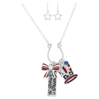 Stylish Fashionable Patriotic American Flag Themed Ribbon Hat Stars & Stripes Charm Post Dangle Star Earrings Silver Necklace Set