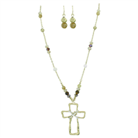 Stylish Spiritual Faith Iridescent Crystal Beads Gold Toned Beaded Post Dangle Earrings Gold Toned Cross Lobster Clasp Necklace Set