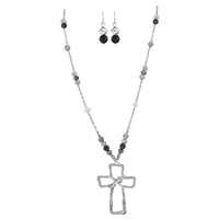 Stylish Spiritual Faith Iridescent Crystal Beads Silver Toned Beaded Post Dangle Earrings Silver Toned Cross Lobster Clasp Necklace Set