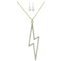 Stylish Fashionable Electrifying Crystal Lightning Bolt Gold Necklace Set