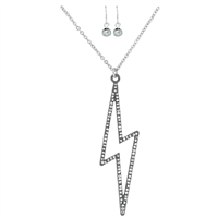 Stylish Fashionable Electrifying Crystal Lightning Bolt Silver Necklace Set