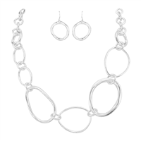 Simple Chic Stylish Ellipse Shaped Linked Silver Fish Hook Necklace Set