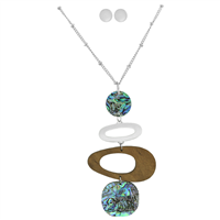Stylish Fashionable Blue Iridescent Faux Wood Silver Necklace Set