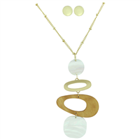Stylish Fashionable White Iridescent Faux Wood Gold Necklace Set