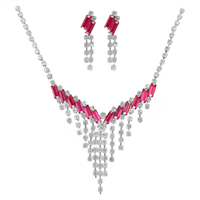 Elegant Crystal V-Drop Necklace Set