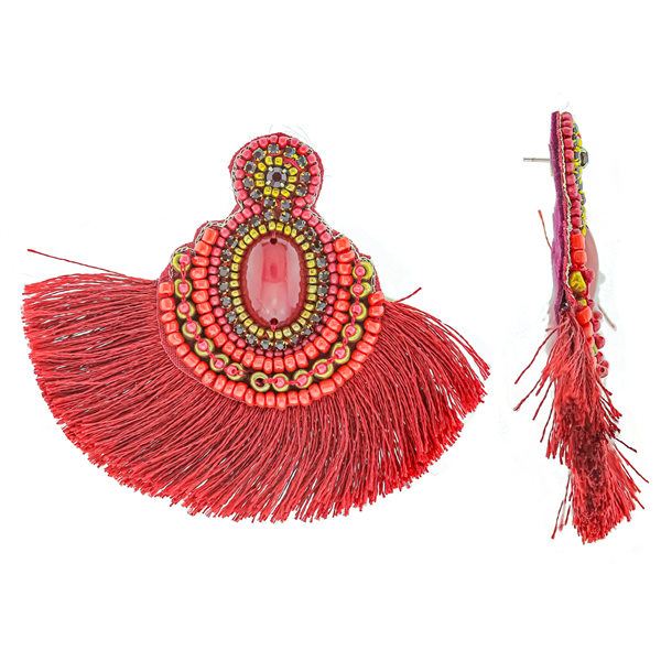 Red Azmex Tassel Earrings