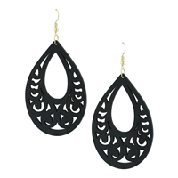 Black Faux Wood Laser Cut Oval Shaped Earrings