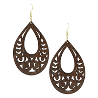 Brown Faux Wood Laser Cut Oval Shaped Earrings