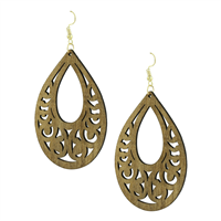Tan Faux Wood Laser Cut Oval Shaped Earrings