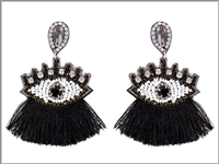 Unique Crystal & Beaded Black Tassel Eye Drop Stud Earrings