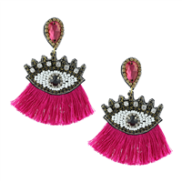 Unique Crystal & Beaded Fuchsia Tassel Eye Drop Stud Earrings