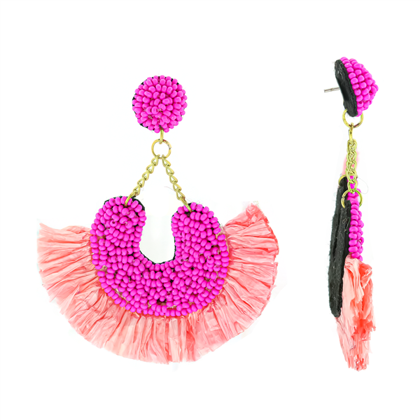 Fuchsia Bead Encrusted Fan Earrings