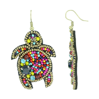 Stylish & Colorful Beaded Crystals Turtle Black Felt Gold Post Dangle Earrings