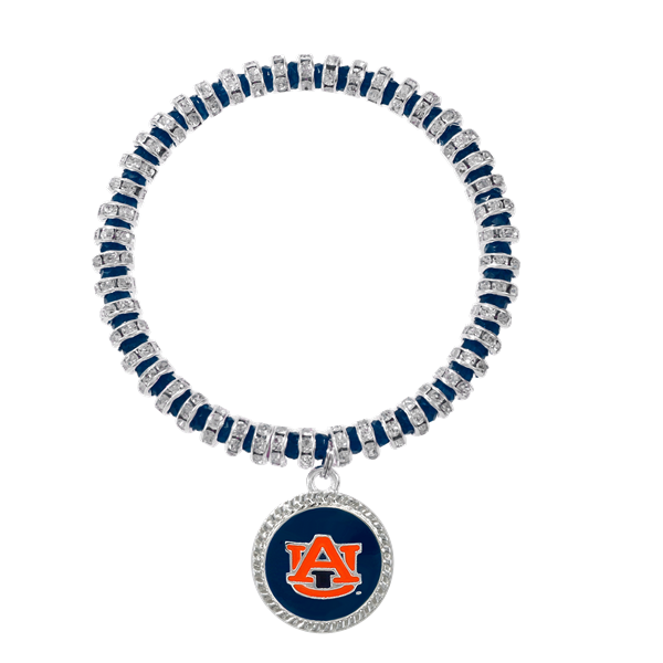 College Fashion Crystal Auburn University Logo Charm Bicks Bracelet