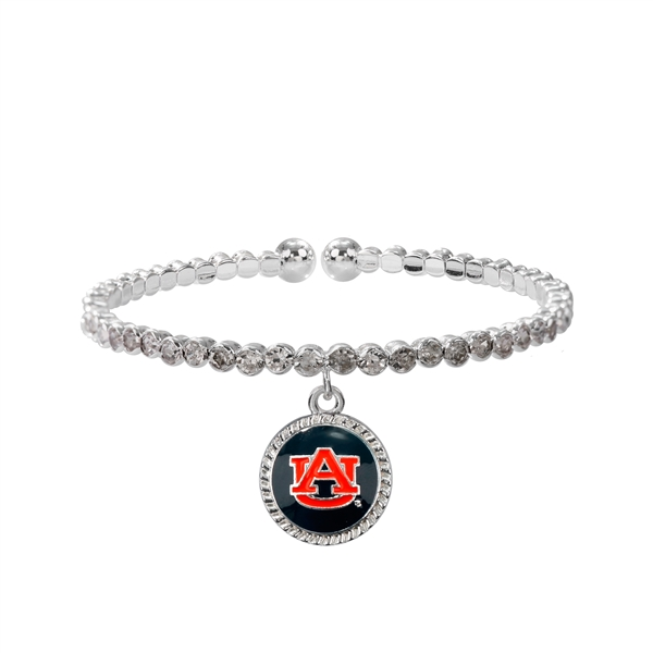 College Fashion Crystal Auburn University Logo Charm Cuff Breeze Bangle