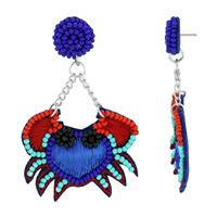 Stylish & Unique Beaded String Crab Blue Felt Silver Stud Dangle Earrings