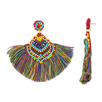 Gorgeous & Fashionable Colorful Beads Iridescent Crystals Colorful Fringed Tassel Gold Stud Dangle Earrings