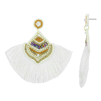 Gorgeous & Fashionable White, Yellow & Gold Beads Iridescent Crystals White Fringed Tassel Gold Stud Dangle Earrings