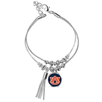 College Fashion Auburn University Logo Tassel Charm Double Layered Bevanna Bracelet