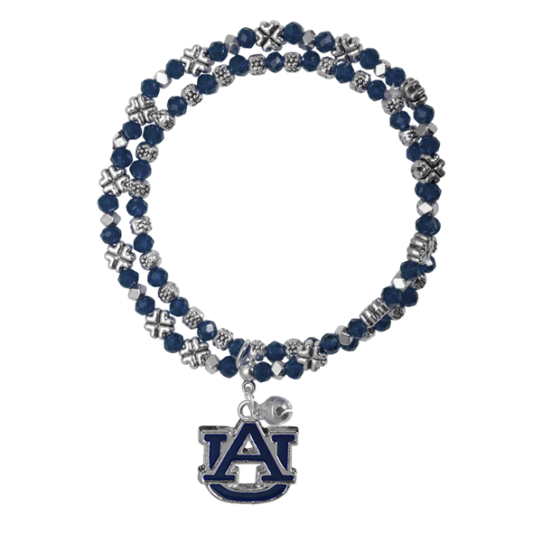 College Fashion Crystal Auburn University Logo Charm Double Layered Stretch Bryton Bracelet