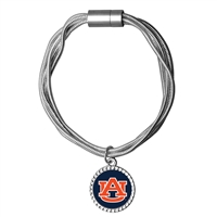 College Fashion Auburn University Logo Charm Multi-Layered Snake Chain Pop Clasp Burma Bracelet