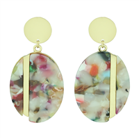 Stylish Chic Multi-Colored Acrylic Gold Toned Stud Dangle Earrings