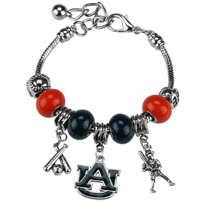 Beaded Charm Bracelet Auburn University Tiger Silver