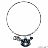 Coil Love Silver Charm Bracelet Auburn Tiger Bangle Silver Jewelry